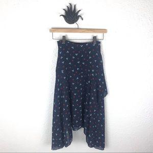 H&M Navy floral asymmetrical midi skirt, size 2